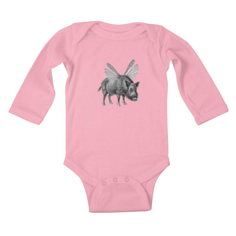 When Pigs Fly Kids Baby Longsleeve Bodysuit by TeeGoo's Shop