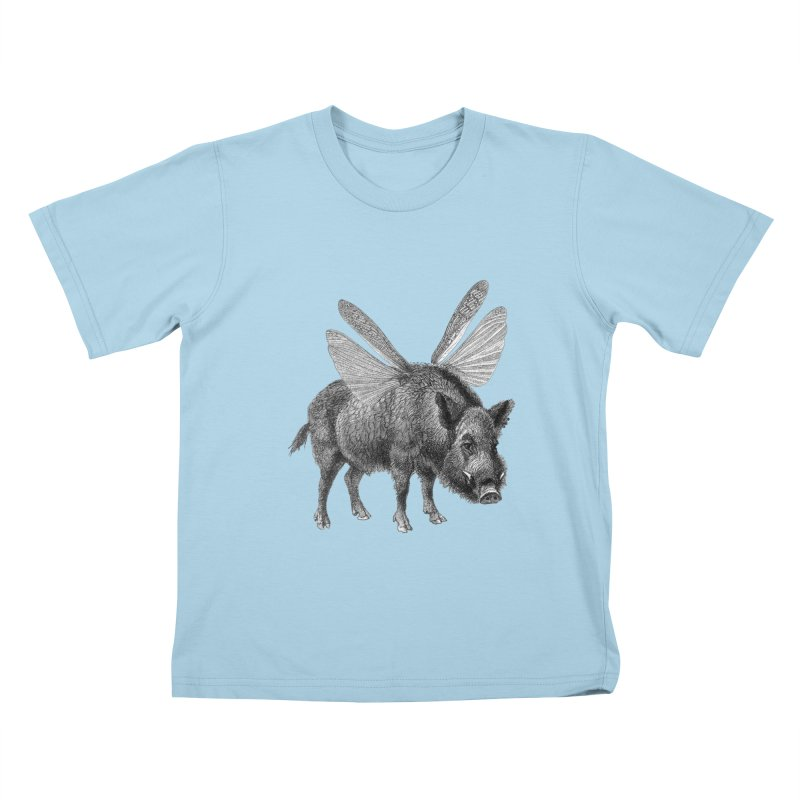 When Pigs Fly Kids T-Shirt by TeeGoo's Shop