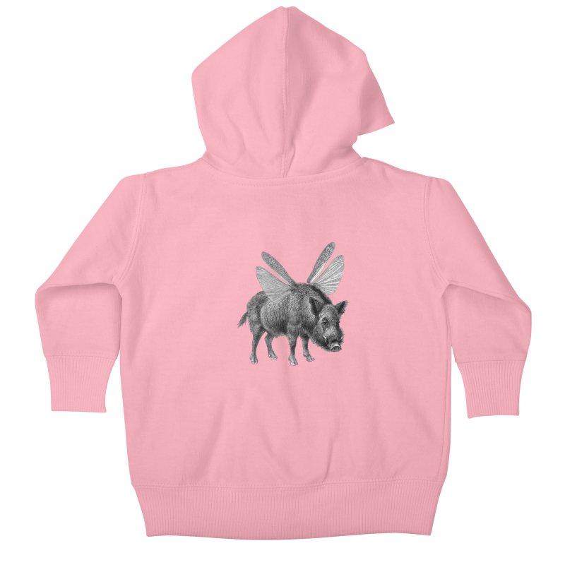 When Pigs Fly Kids Baby Zip-Up Hoody by TeeGoo's Shop