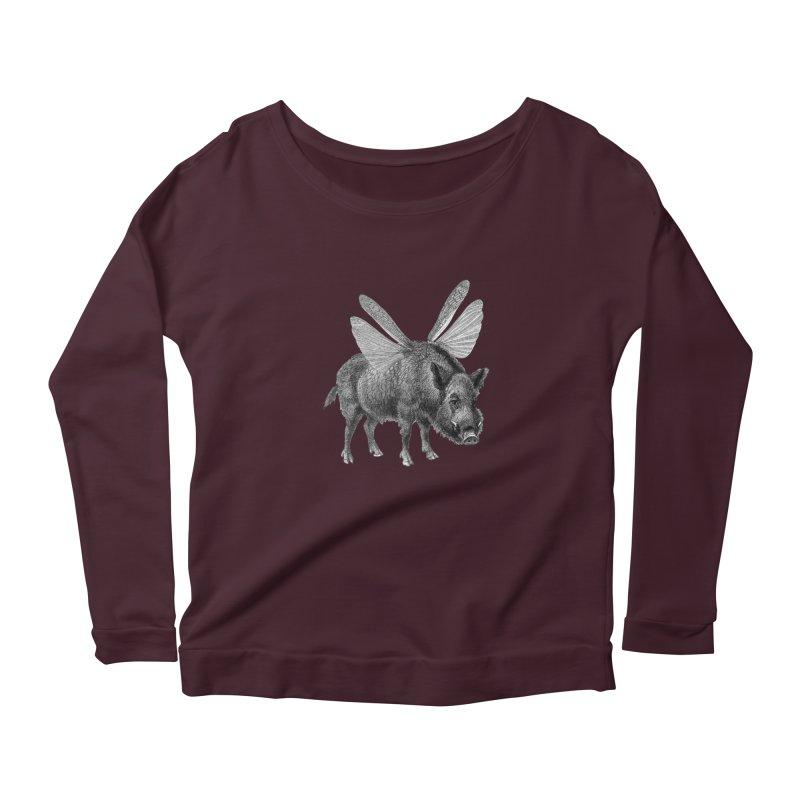 When Pigs Fly in Women's Scoop Neck Longsleeve T-Shirt Dark Purple by TeeGoo's Shop