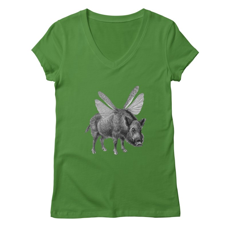 When Pigs Fly Women's Regular V-Neck by TeeGoo's Shop