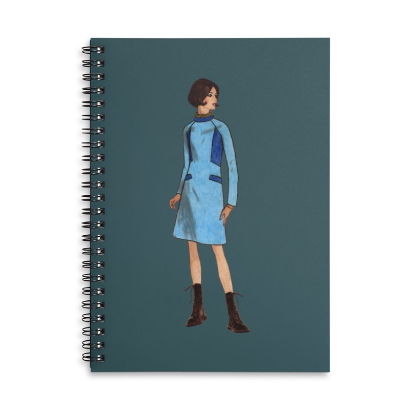 Mod Girl in Combat Boots Accessories Lined Spiral Notebook by TeeGoo's Shop