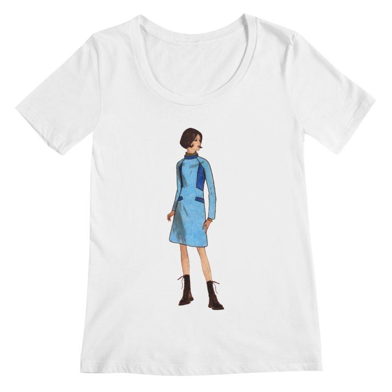 Mod Girl in Combat Boots Women's Regular Scoop Neck by TeeGoo's Shop