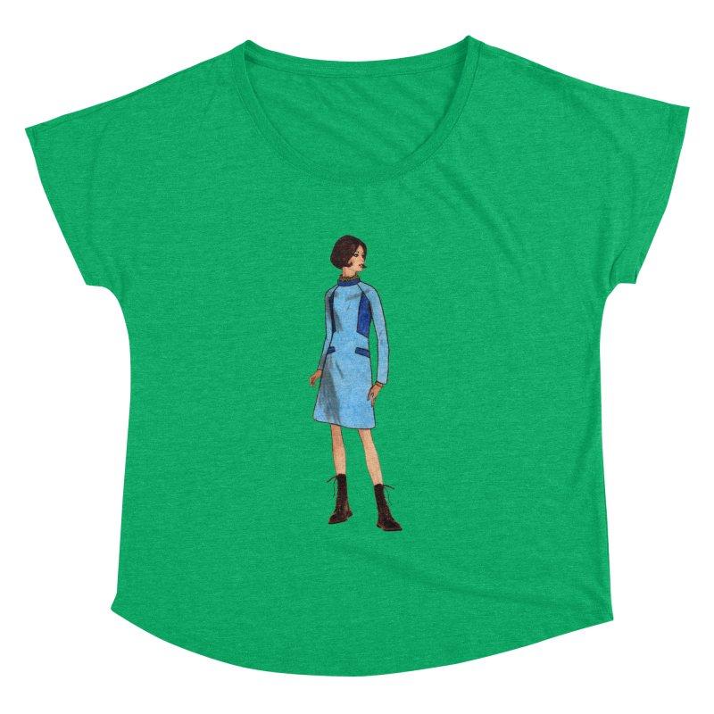 Mod Girl in Combat Boots Women's Dolman Scoop Neck by TeeGoo's Shop