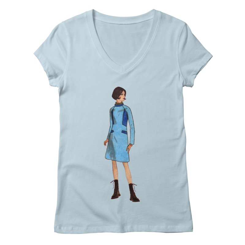 Mod Girl in Combat Boots Women's V-Neck by TeeGoo's Shop
