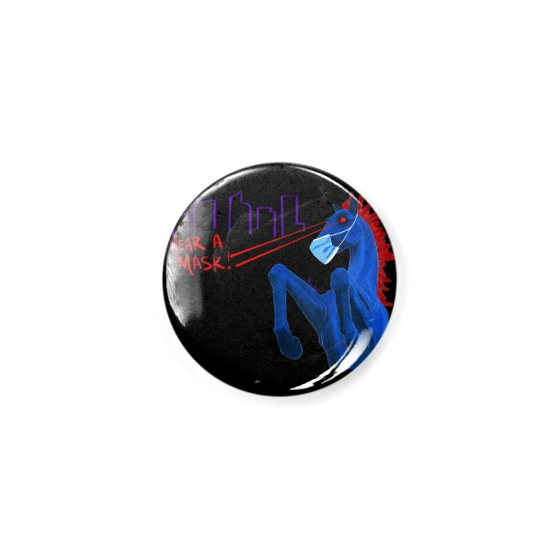 Blucifer Says Wear A Mask Accessories Button by That5280Lady's Shop