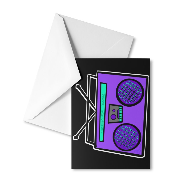 Purple Boombox Accessories Greeting Card by That5280Lady's Shop