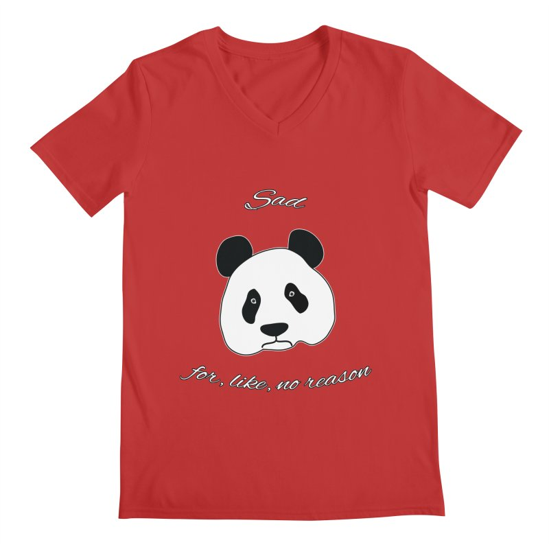 Sad Panda Men's Regular V-Neck by Shirts That Never Happened