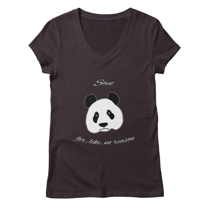 Sad Panda Women's Regular V-Neck by Shirts That Never Happened
