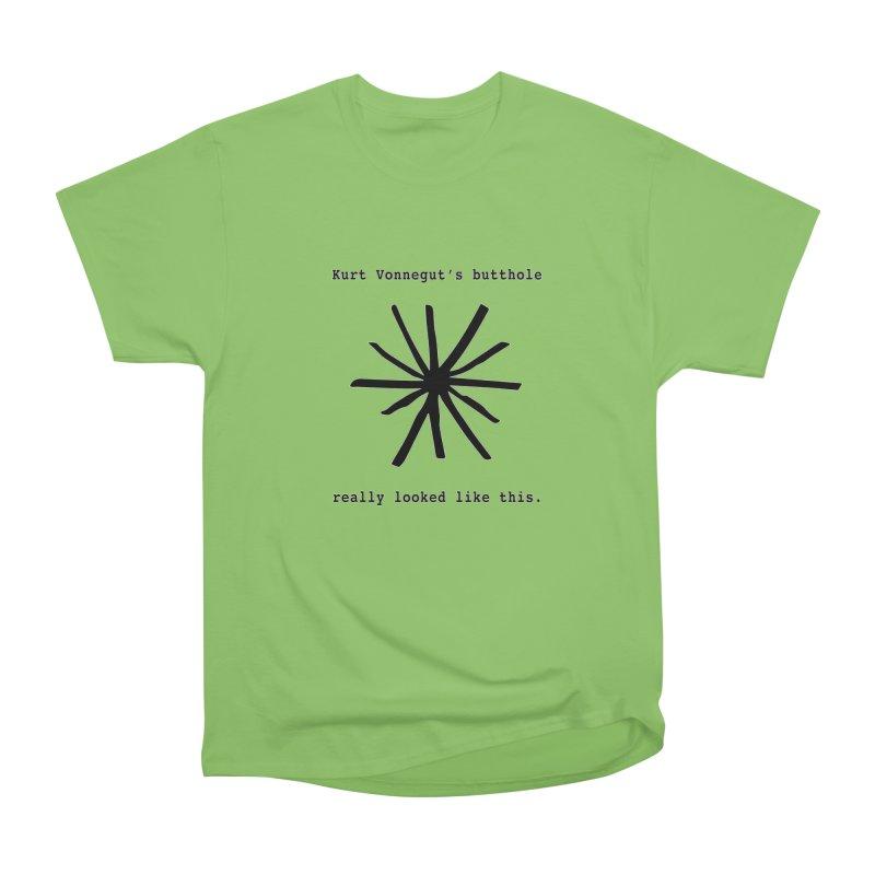 Kurt Vonnegut's Butthole Women's Heavyweight Unisex T-Shirt by Shirts That Never Happened
