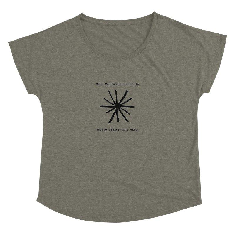 Kurt Vonnegut's Butthole Women's Dolman Scoop Neck by Shirts That Never Happened
