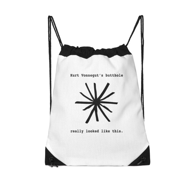 Kurt Vonnegut's Butthole Accessories Drawstring Bag Bag by Shirts That Never Happened
