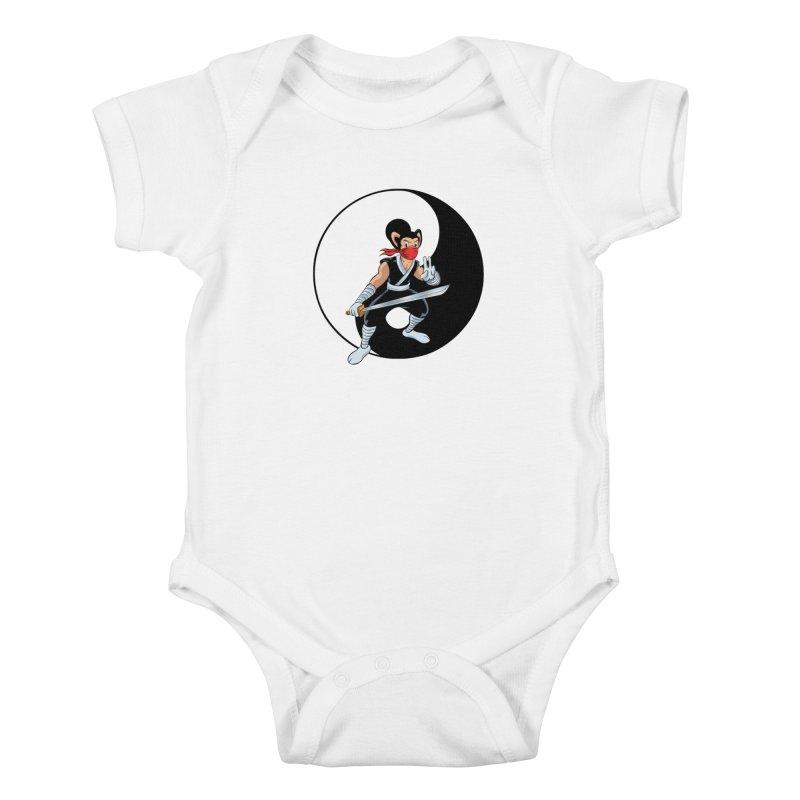 Ninja Mouse Ying Yang  Kids Baby Bodysuit by The8spot's Artist Shop