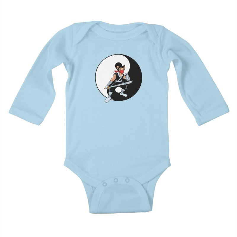 Ninja Mouse Ying Yang  Kids Baby Longsleeve Bodysuit by The8spot's Artist Shop