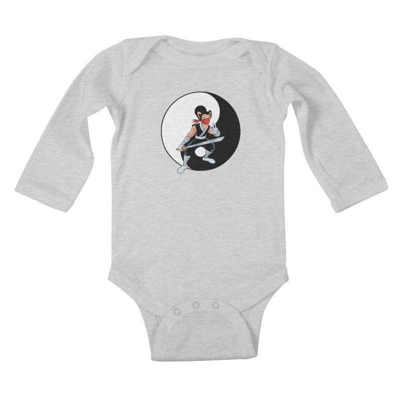 Ninja Mouse Ying Yang  Kids Baby Longsleeve Bodysuit by The8spot's Artist Shop