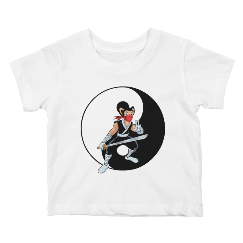 Ninja Mouse Ying Yang  Kids Baby T-Shirt by The8spot's Artist Shop