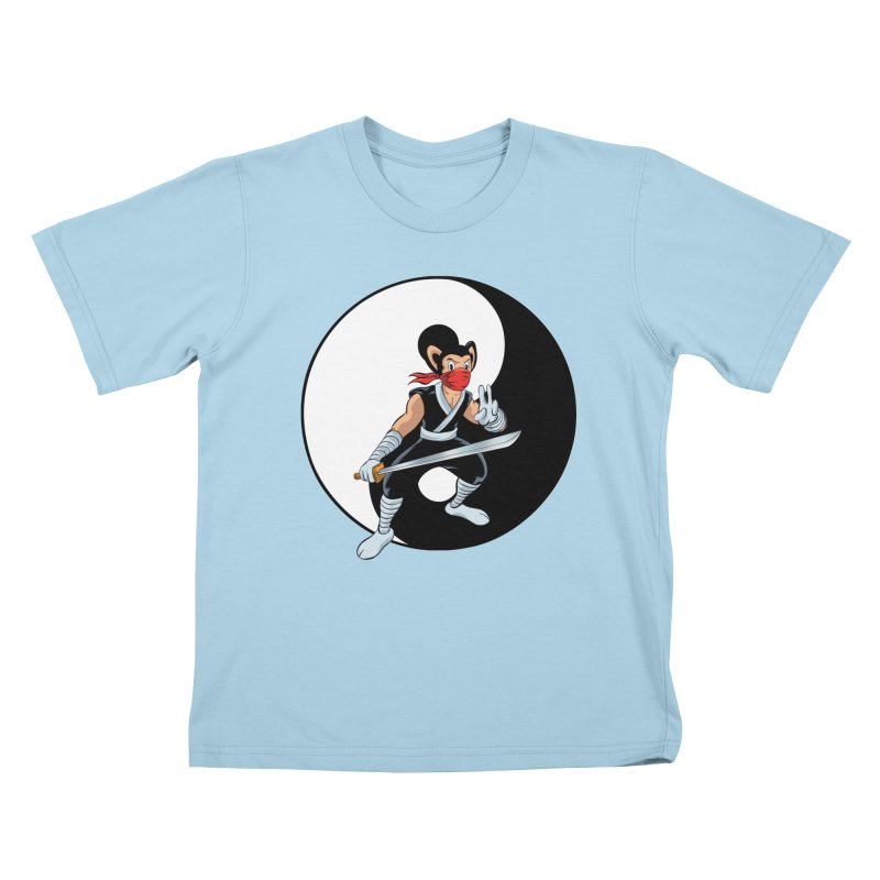 Ninja Mouse Ying Yang  Kids T-shirt by The8spot's Artist Shop