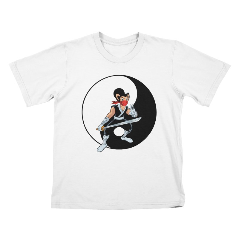 Ninja Mouse Ying Yang  Kids T-Shirt by The8spot's Artist Shop