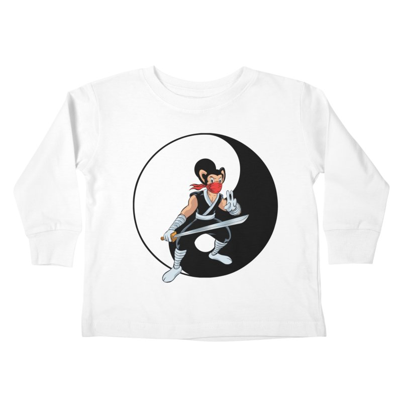 Ninja Mouse Ying Yang  Kids Toddler Longsleeve T-Shirt by The8spot's Artist Shop