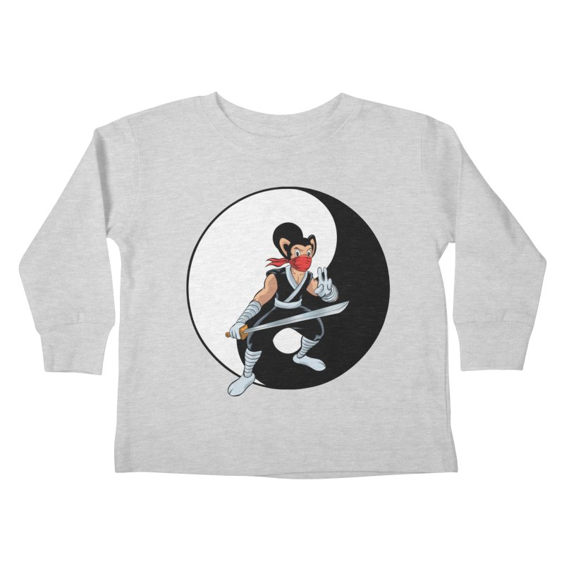 Ninja Mouse Ying Yang  Kids Toddler Longsleeve T-Shirt by The8spot's Artist Shop