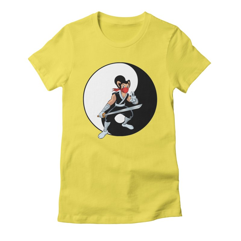 Ninja Mouse Ying Yang  Women's Fitted T-Shirt by The8spot's Artist Shop