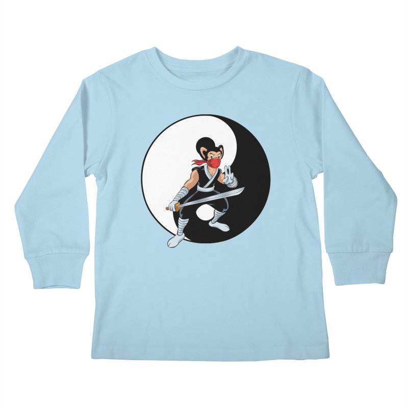 Ninja Mouse Ying Yang  Kids Longsleeve T-Shirt by The8spot's Artist Shop