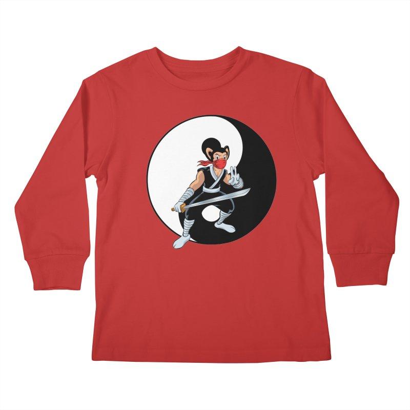 Ninja Mouse Ying Yang  Kids Longsleeve T-Shirt by The8spot's Artist Shop