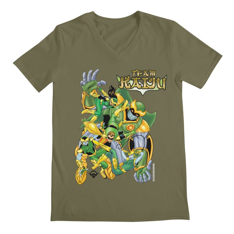 Team Kaiju Falling  Men's V-Neck by The8spot's Artist Shop