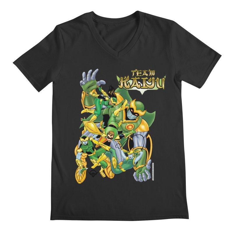Team Kaiju Falling  Men's Regular V-Neck by The8spot's Artist Shop