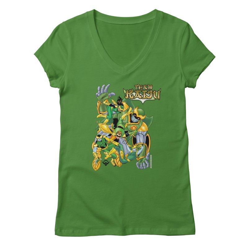 Team Kaiju Falling  Women's Regular V-Neck by The8spot's Artist Shop