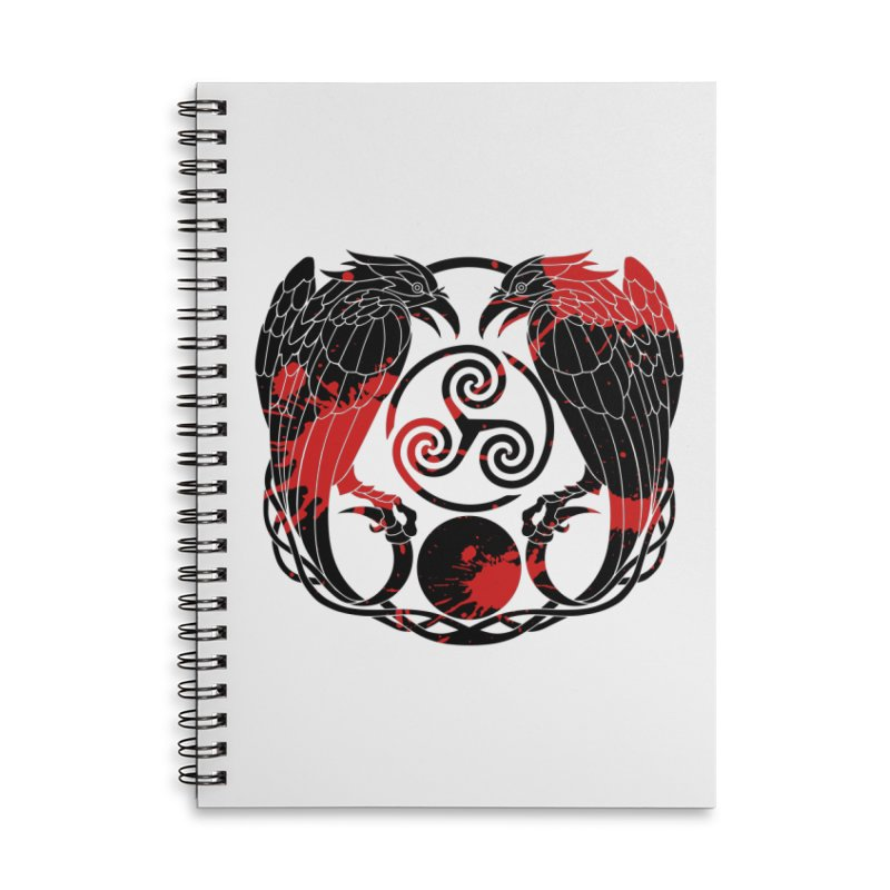 Nine While Nine ~ Blood Ravens Logo Accessories Lined Spiral Notebook by The Dark Whimsy Emporium