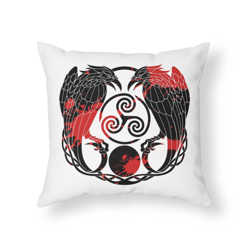 Nine While Nine ~ Blood Ravens Logo Home Throw Pillow by The Dark Whimsy Emporium