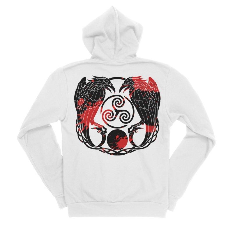 Nine While Nine ~ Blood Ravens Logo Men's Sponge Fleece Zip-Up Hoody by The Dark Whimsy Emporium