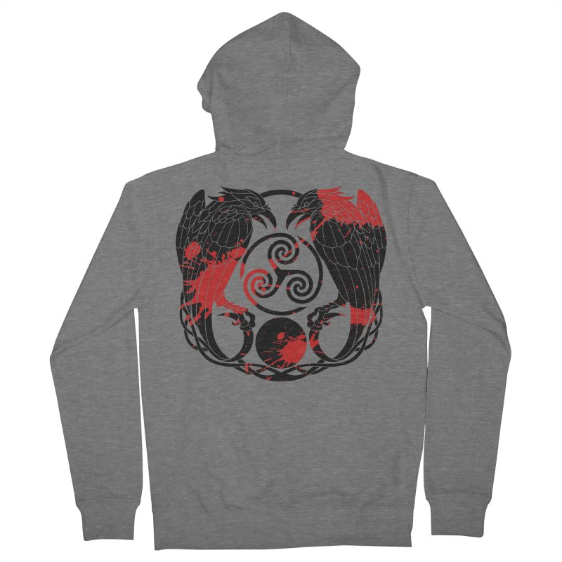 Nine While Nine ~ Blood Ravens Logo Women's French Terry Zip-Up Hoody by The Dark Whimsy Emporium