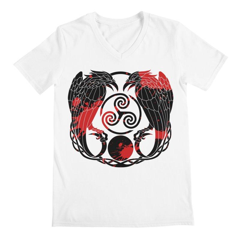 Nine While Nine ~ Blood Ravens Logo Men's V-Neck by The Dark Whimsy Emporium
