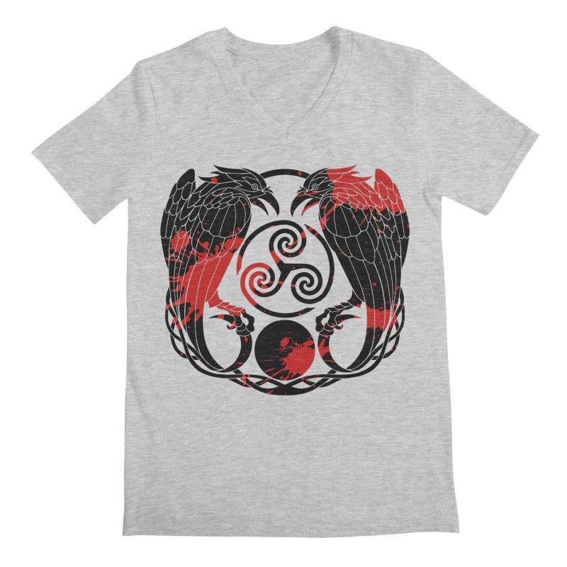 Nine While Nine ~ Blood Ravens Logo Men's Regular V-Neck by The Dark Whimsy Emporium