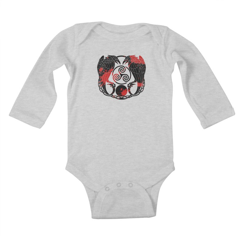Nine While Nine ~ Blood Ravens Logo Kids Baby Longsleeve Bodysuit by The Dark Whimsy Emporium