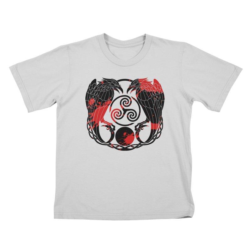 Nine While Nine ~ Blood Ravens Logo Kids T-Shirt by The Dark Whimsy Emporium