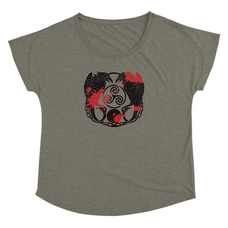 Nine While Nine ~ Blood Ravens Logo Women's Dolman Scoop Neck by The Dark Whimsy Emporium