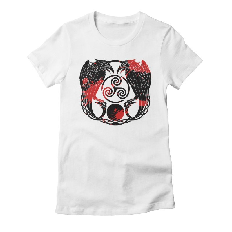 Nine While Nine ~ Blood Ravens Logo Women's Fitted T-Shirt by The Dark Whimsy Emporium