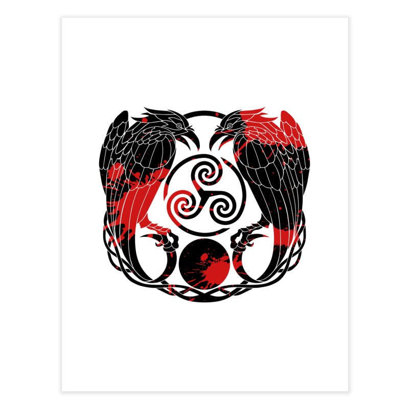 Nine While Nine ~ Blood Ravens Logo Home Fine Art Print by The Dark Whimsy Emporium