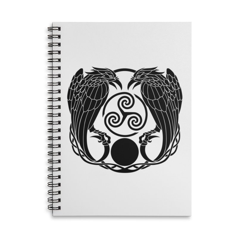 Nine While Nine ~ Black Ravens Logo Accessories Lined Spiral Notebook by The Dark Whimsy Emporium