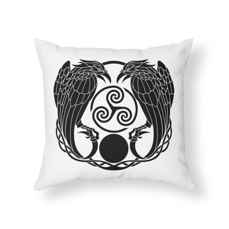 Nine While Nine ~ Black Ravens Logo Home Throw Pillow by The Dark Whimsy Emporium