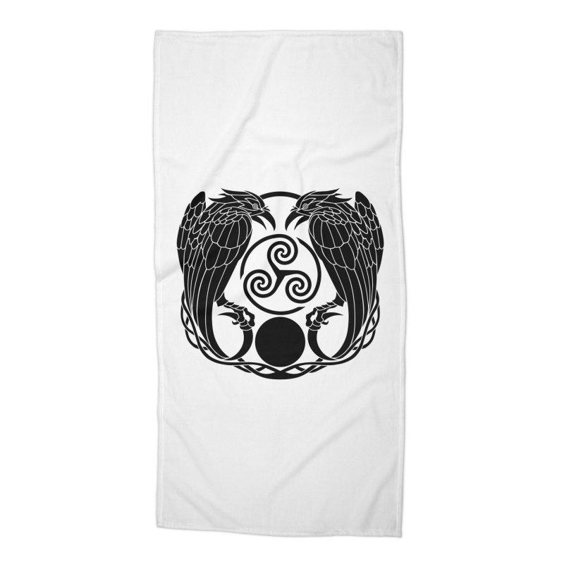 Nine While Nine ~ Black Ravens Logo Accessories Beach Towel by The Dark Whimsy Emporium