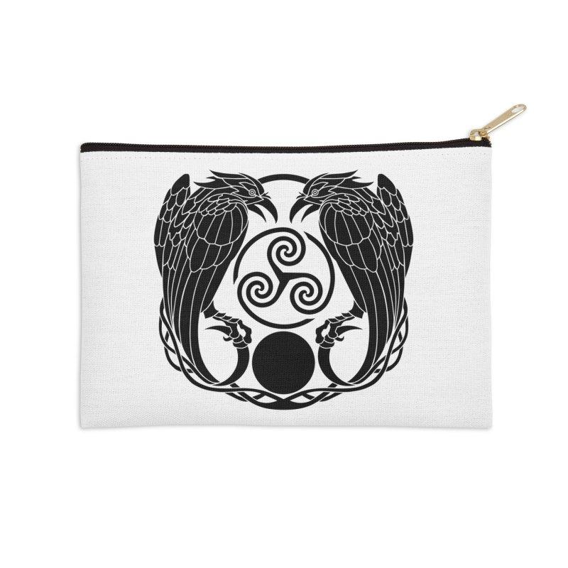 Nine While Nine ~ Black Ravens Logo Accessories Zip Pouch by The Dark Whimsy Emporium