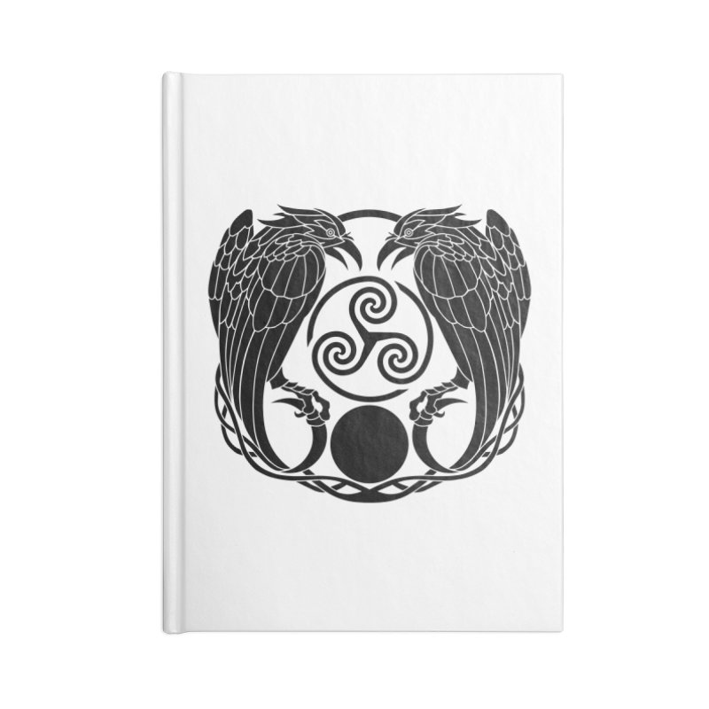 Nine While Nine ~ Black Ravens Logo Accessories Blank Journal Notebook by The Dark Whimsy Emporium