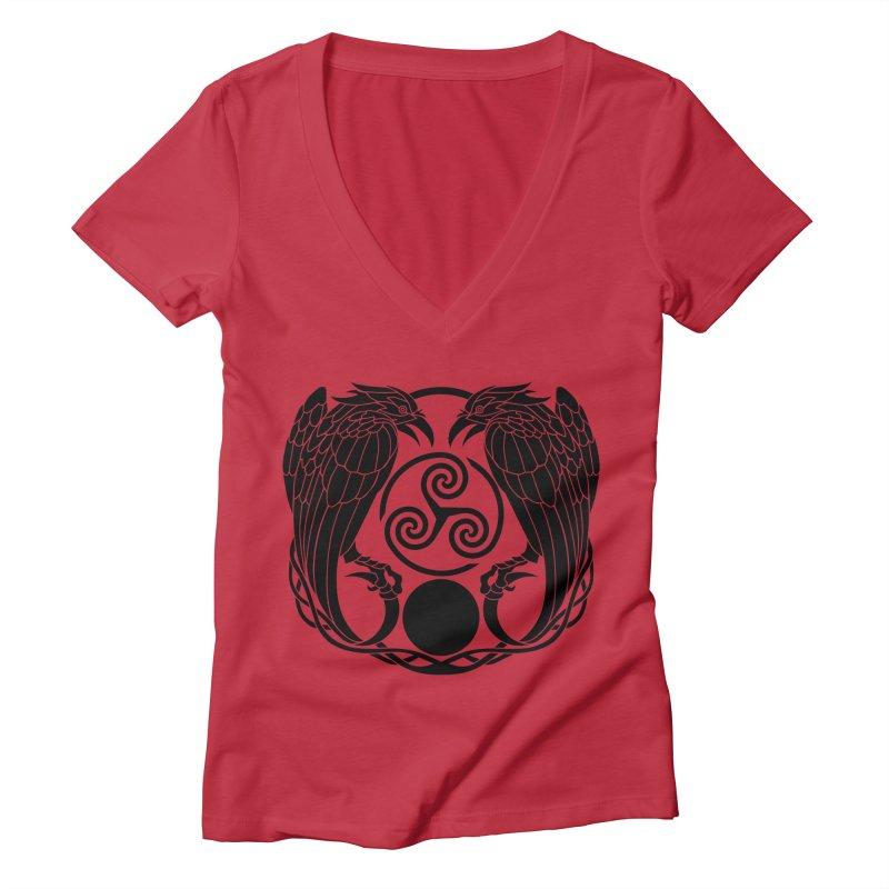 Nine While Nine ~ Black Ravens Logo Women's Deep V-Neck V-Neck by The Dark Whimsy Emporium