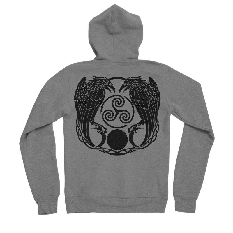 Nine While Nine ~ Black Ravens Logo Men's Sponge Fleece Zip-Up Hoody by The Dark Whimsy Emporium
