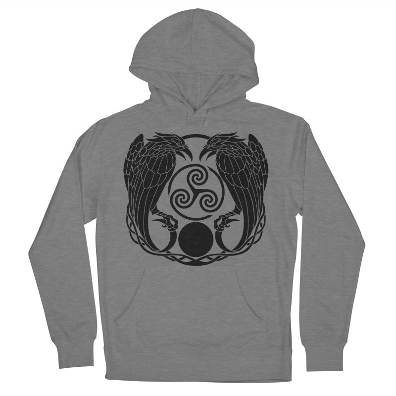 Nine While Nine ~ Black Ravens Logo Men's French Terry Pullover Hoody by The Dark Whimsy Emporium
