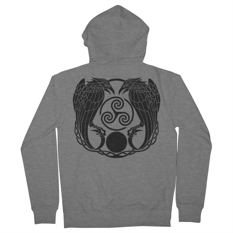 Nine While Nine ~ Black Ravens Logo Men's French Terry Zip-Up Hoody by The Dark Whimsy Emporium
